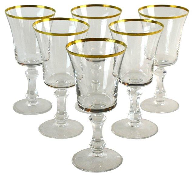 Gold-Rimmed Goblets, S/6