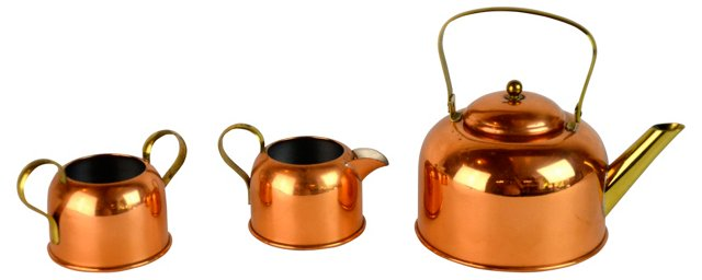 Copper Tea Service, 3 Pcs