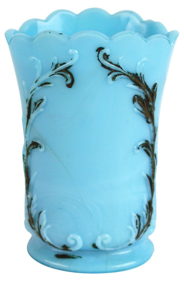 Blue Milk Glass Vase