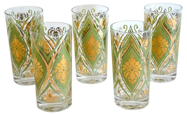 French Harlequin Cocktail Glasses, S/5