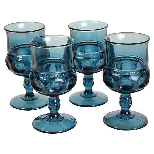 Peacock Blue Pressed Glass Goblets, S/4