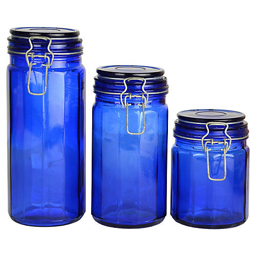 Cobalt Glass Canisters, S/3