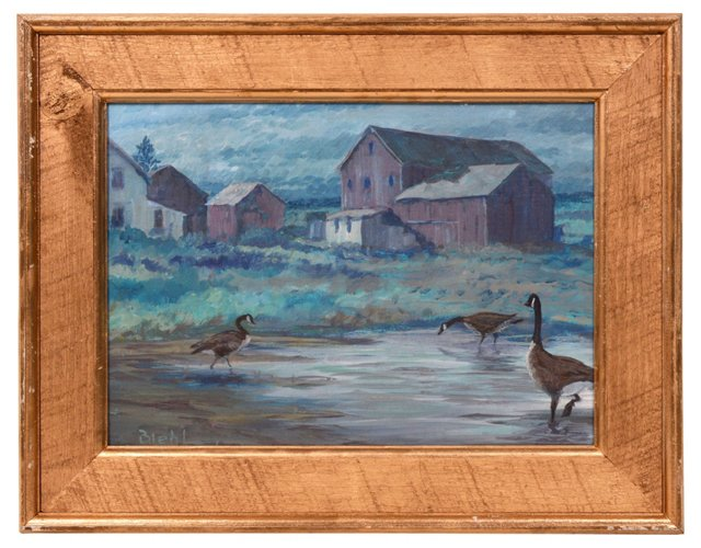 Country Landscape with Geese