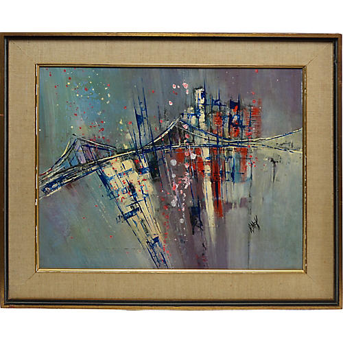 Abstract Oil of the Brooklyn Bridge