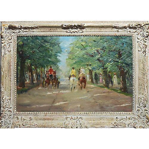 Impressionist Paris Park w/ Horses