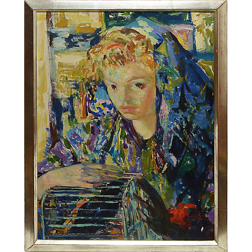 Portrait of a Young Woman & Birdcage