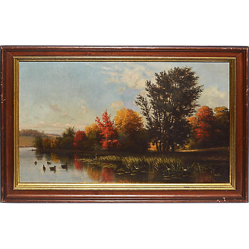 Hudson River School Fall Landscape