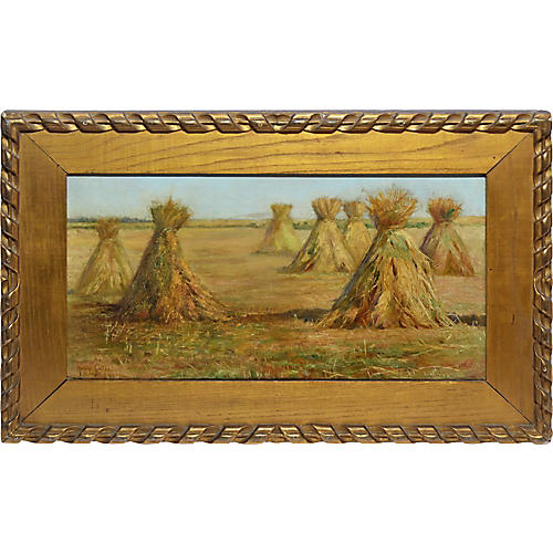 Impressionist Landscape with Haystacks