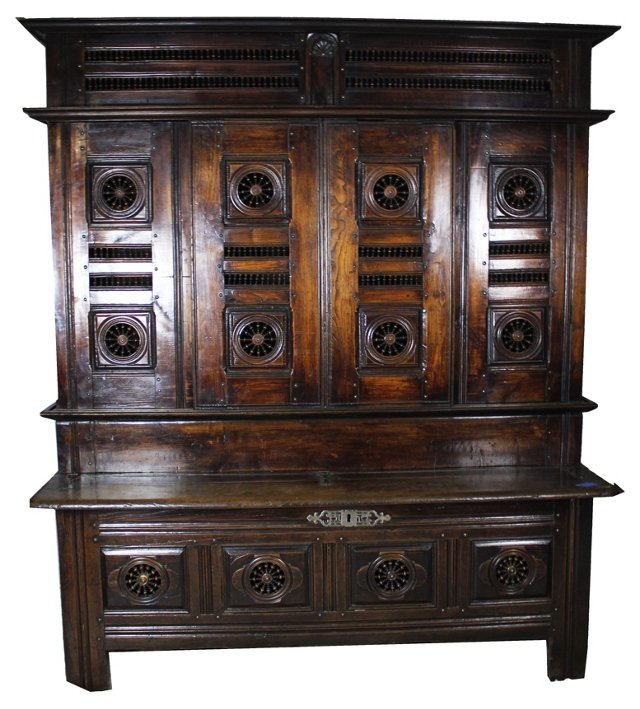 19th-C. French Brittany-Style Hall Bench