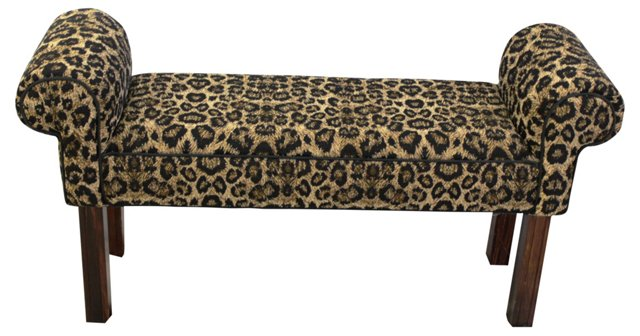 Upholstered Leopard-Print Roll Arm Bench