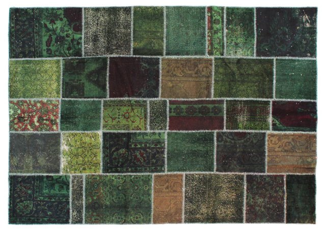 """Green  Patchwork  Rug, 7'5"""" x 10'6"""""""