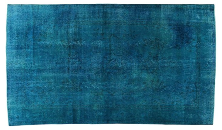 "Turkish Turquoise Overdyed Rug 5'3""x9'1"""