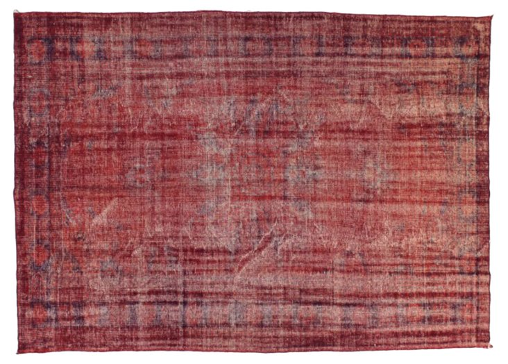 """Red Overdyed Rug, 6'11"""" x 9'8"""""""