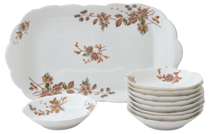19th-C. Serving Set, Svc. for 9
