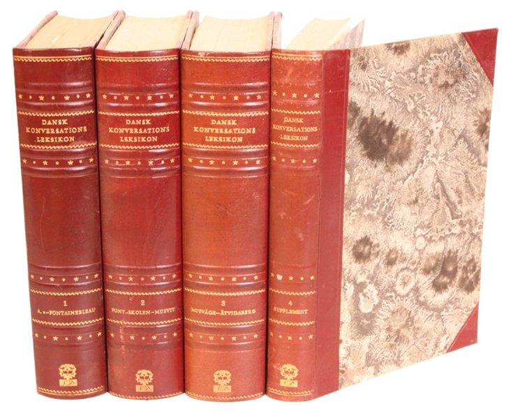 Danish     Leather Encyclopedias, S/4