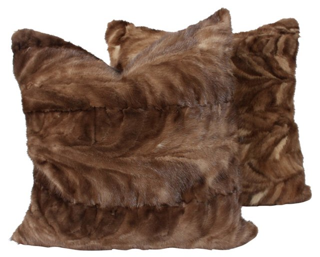 Brown Mink    Pillows, Pair