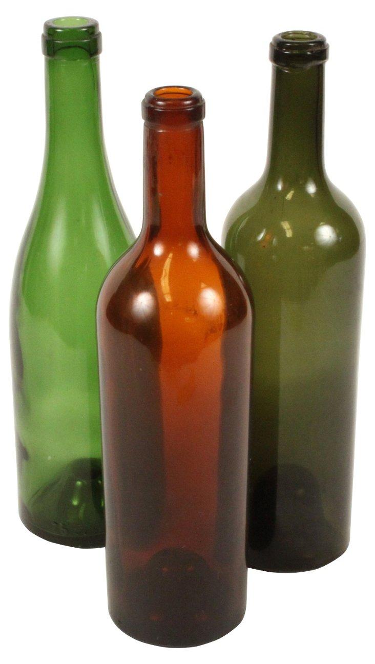 French Wine  Bottles, S/3
