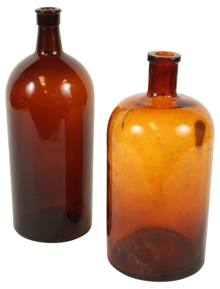 French Brown Apothecary Jars, Pair