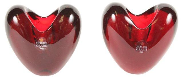 Holmegaard Heart Candleholders, Pair