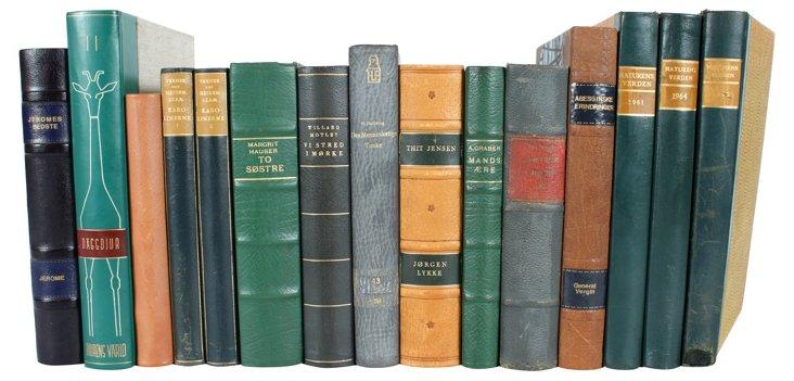 Decorative      Leather Books, S/15