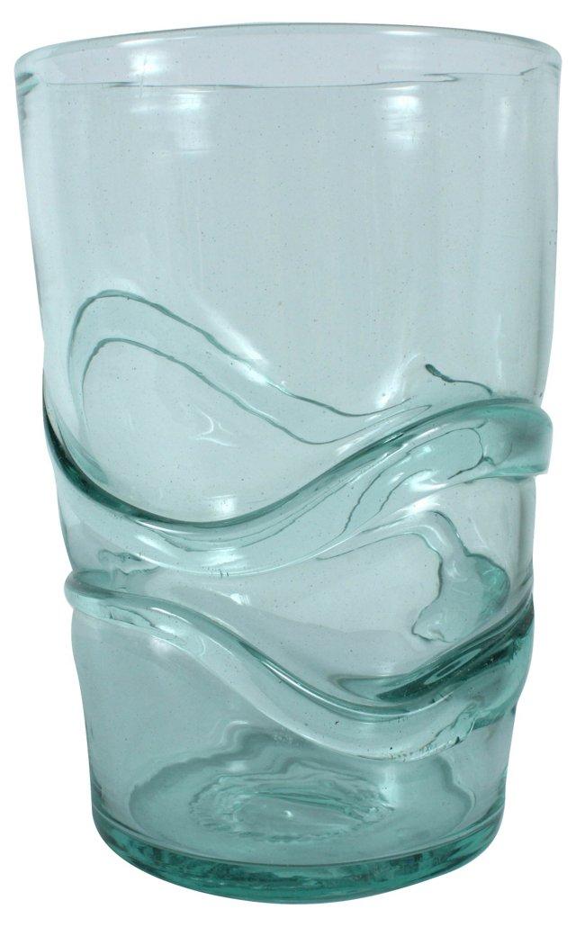 Teal Art Glass Vase