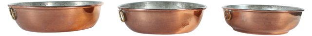 French Copper Bowls, S/3