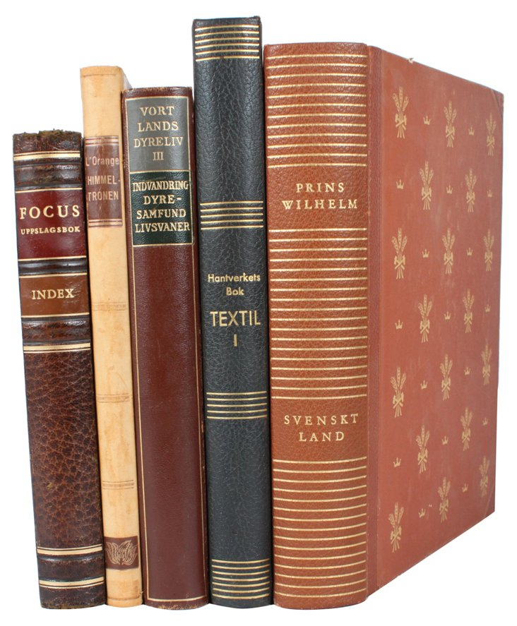 Decorative  Leather   Books,  S/5