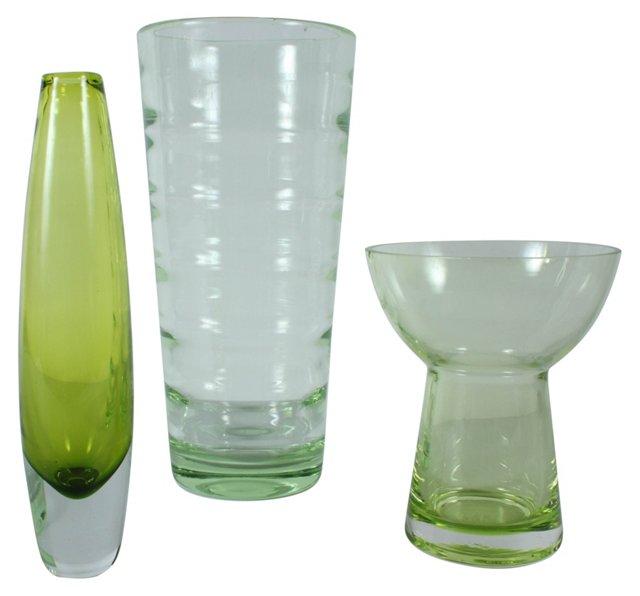 Lime Green Vases, S/3