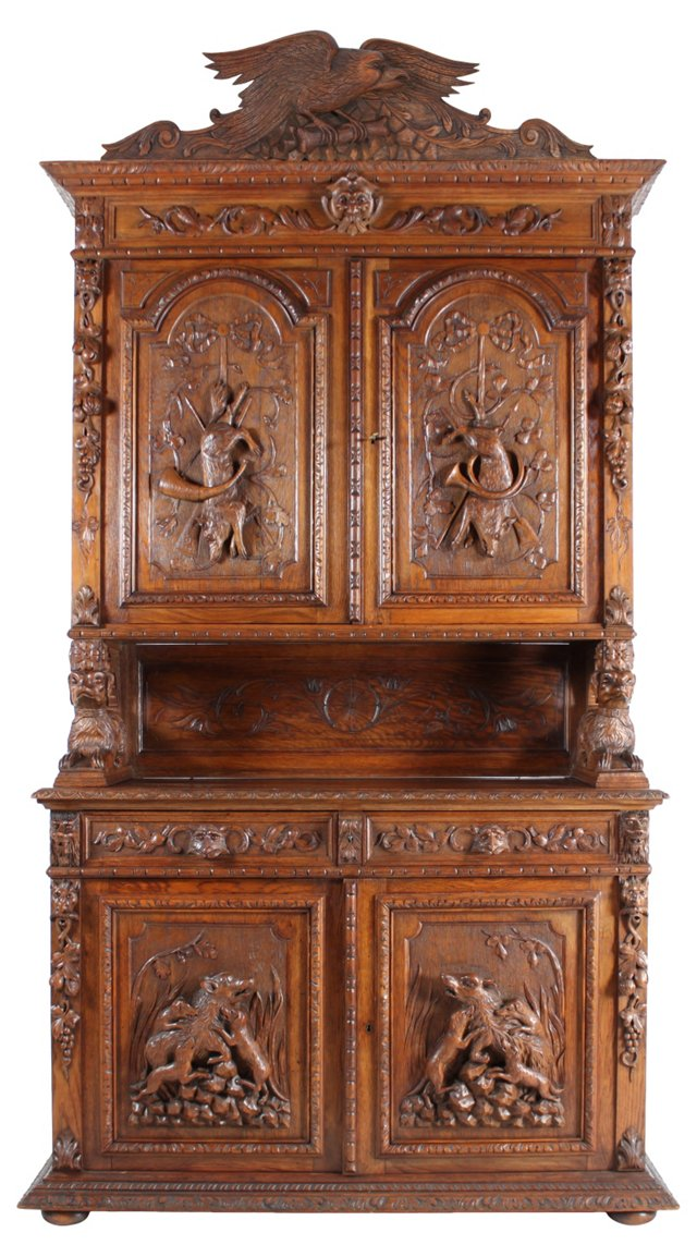 1920s French Oak Hunting Armoire