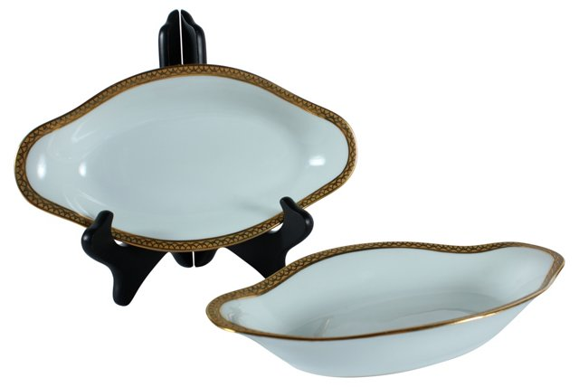 Limoges Relish Dishes, Pair