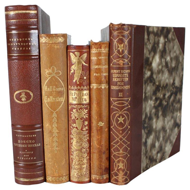 Deccorative   Leather-Bound Books, S/5