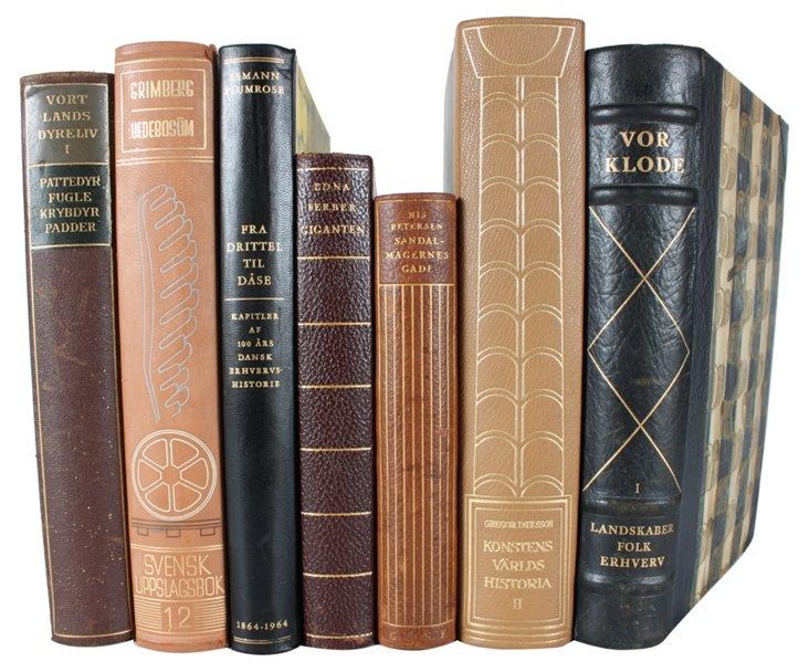 Decorative  Leather-Bound  Books,    S/7