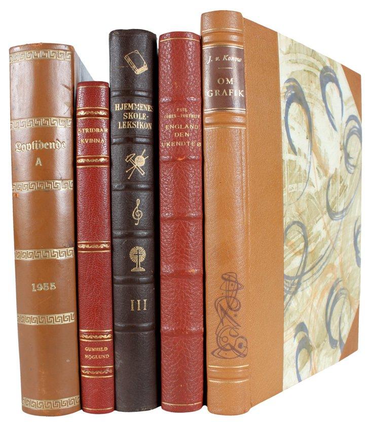 Decorative Leatherbound Books,  S/5