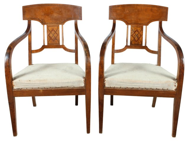 English Walnut    Armchairs, Pair