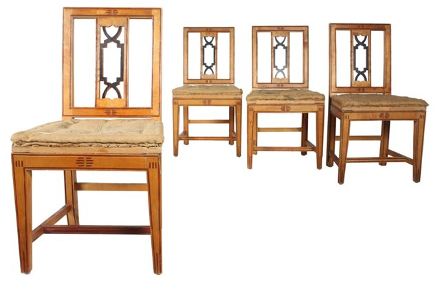 Italian Maple Dining Chairs, Set of 4