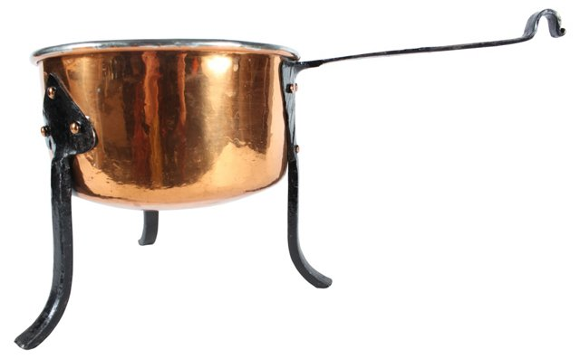 Copper & Iron           Footed Pot