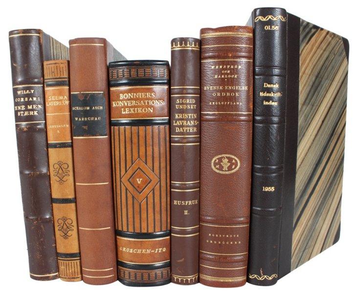 Decorative Leather           Books, S/7