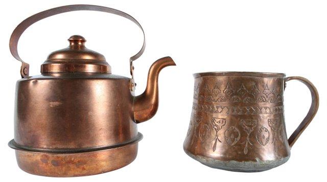 Copper Teapot & Cup