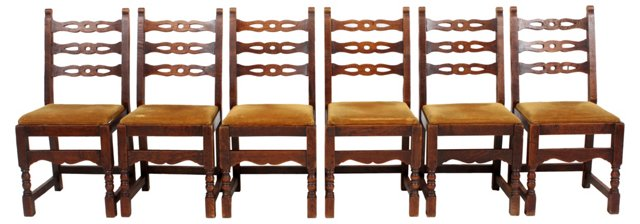 French Oak  Chairs, Set of 6