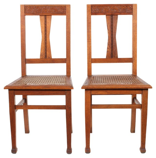 Caned Oak Chairs, Pair