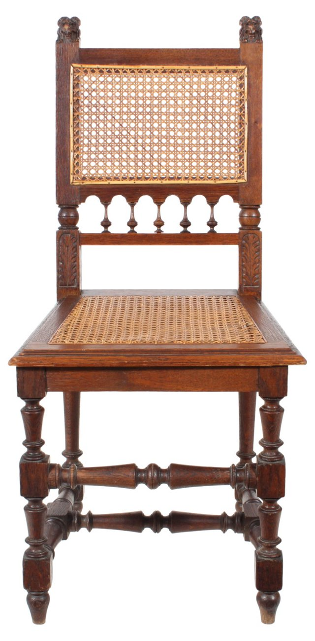 French Hand-Carved   Oak Chair