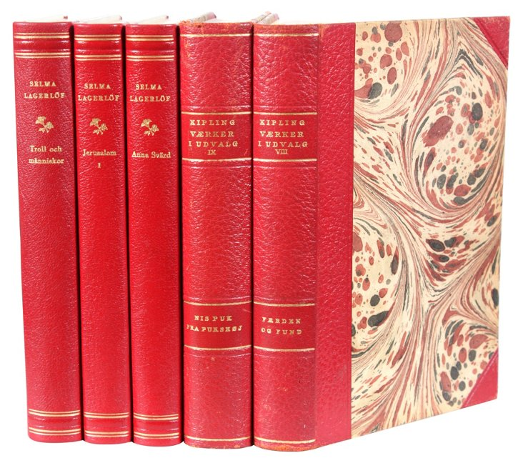 Decorative Leather Books, Crimson, S/5