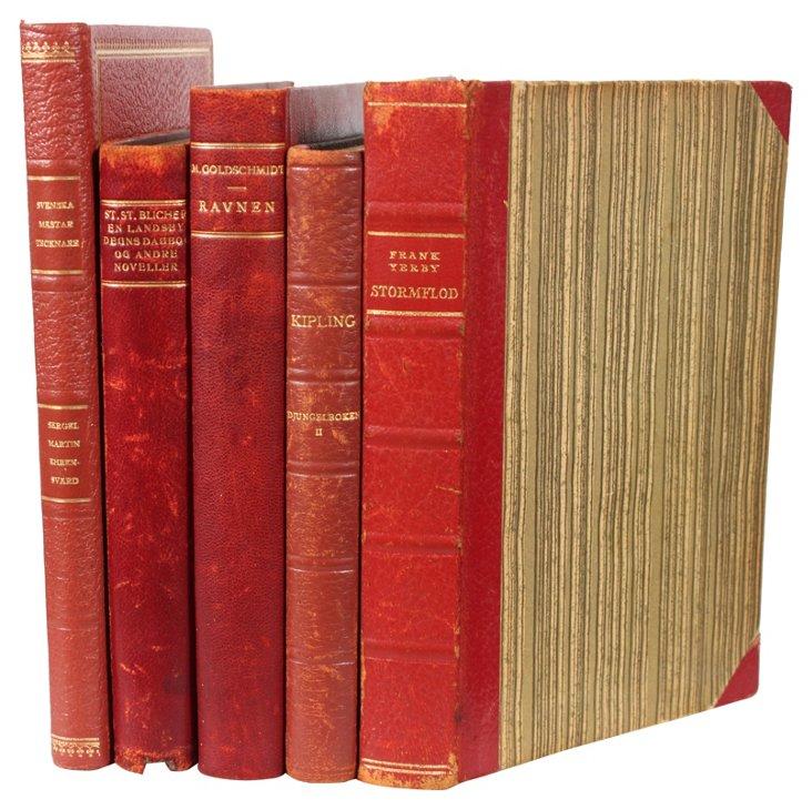 Decorative Leather Books, Brick Red, S/5