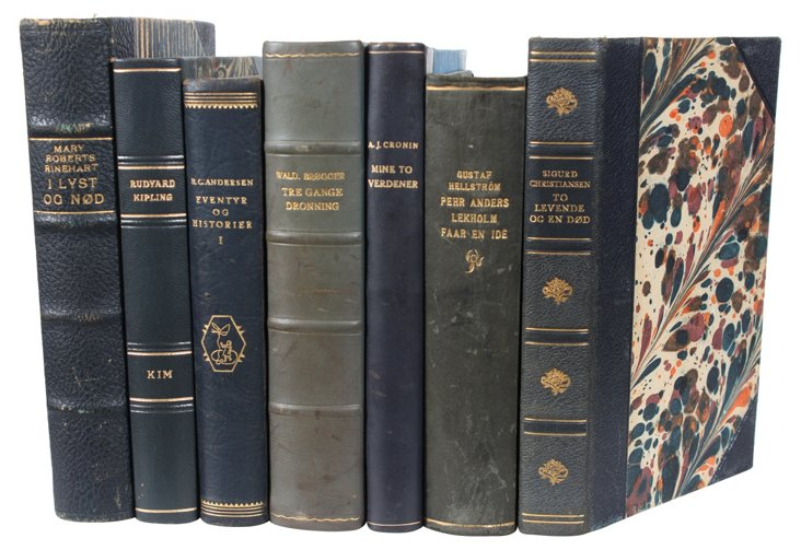 Decorative Leather Books, Slate, S/7