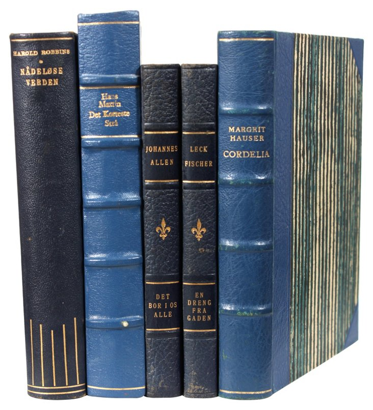 Decorative Leather Books, Dark Blue, S/5