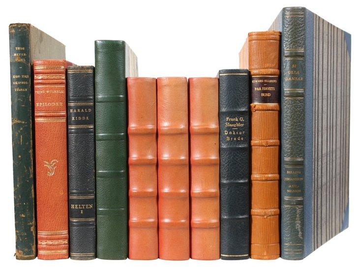 Decorative Leather Books, Pumpkin, S/10