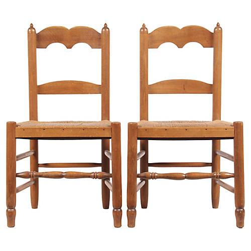 Petite French Rush Chairs, Pair
