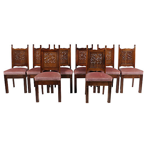 Neo-Gothic Medieval-Style Church Chairs