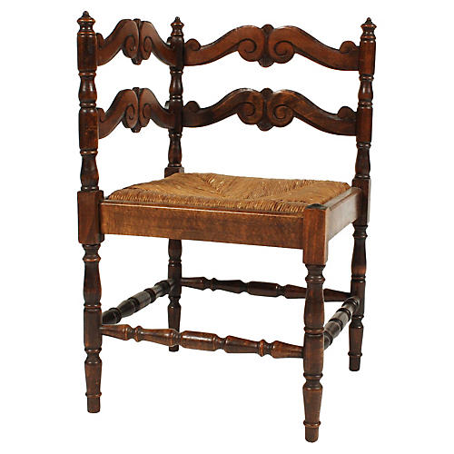 19th-C. French Walnut Corner Chair