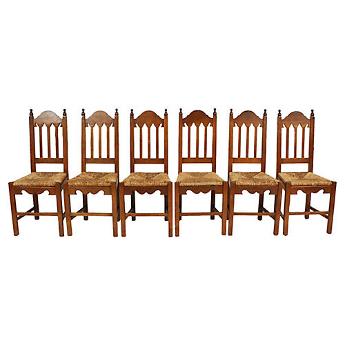 Dutch Rush Seat Chairs, S/6